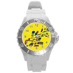 Yellow abstraction Round Plastic Sport Watch (L)