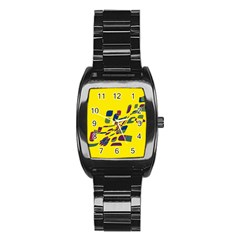 Yellow abstraction Stainless Steel Barrel Watch