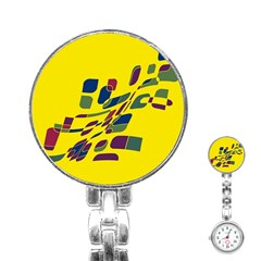 Yellow abstraction Stainless Steel Nurses Watch