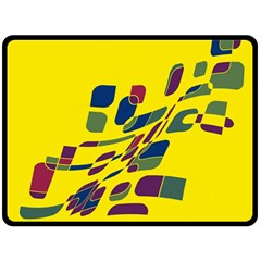 Yellow abstraction Double Sided Fleece Blanket (Large)