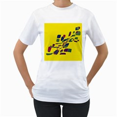 Yellow abstraction Women s T-Shirt (White)
