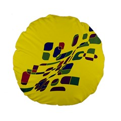 Yellow abstraction Standard 15  Premium Flano Round Cushions