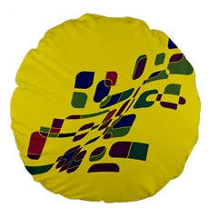 Yellow abstraction Large 18  Premium Flano Round Cushions