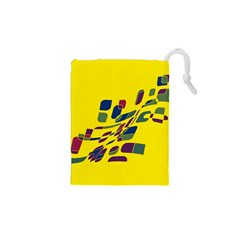 Yellow abstraction Drawstring Pouches (XS)