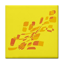 Yellow abstraction Tile Coasters