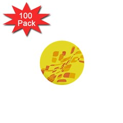 Yellow abstraction 1  Mini Buttons (100 pack)