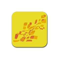 Yellow abstraction Rubber Coaster (Square)