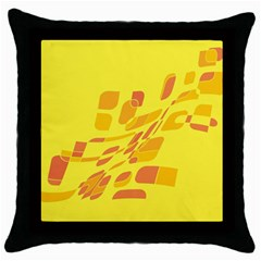 Yellow abstraction Throw Pillow Case (Black)