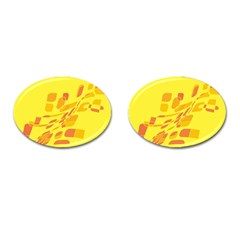 Yellow abstraction Cufflinks (Oval)