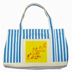 Yellow Abstraction Striped Blue Tote Bag