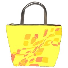 Yellow abstraction Bucket Bags