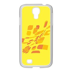 Yellow abstraction Samsung GALAXY S4 I9500/ I9505 Case (White)