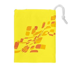 Yellow abstraction Drawstring Pouches (Extra Large)