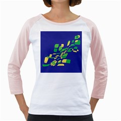 Blue abstraction Girly Raglans