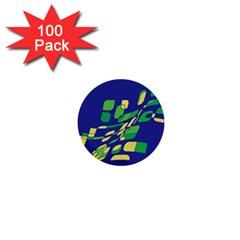 Blue abstraction 1  Mini Buttons (100 pack)