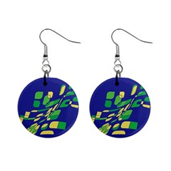 Blue abstraction Mini Button Earrings