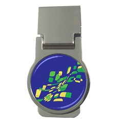 Blue abstraction Money Clips (Round)