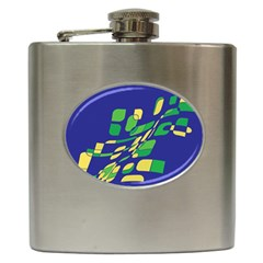 Blue abstraction Hip Flask (6 oz)