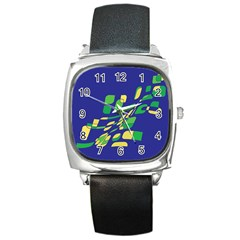 Blue abstraction Square Metal Watch