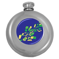 Blue abstraction Round Hip Flask (5 oz)