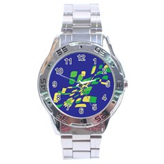 Blue abstraction Stainless Steel Analogue Watch