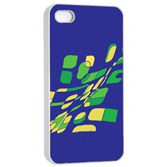 Blue abstraction Apple iPhone 4/4s Seamless Case (White)
