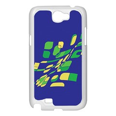 Blue abstraction Samsung Galaxy Note 2 Case (White)