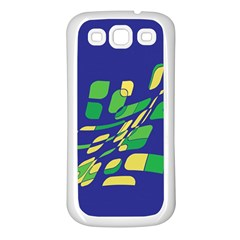 Blue abstraction Samsung Galaxy S3 Back Case (White)