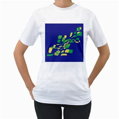 Blue abstraction Women s T-Shirt (White)