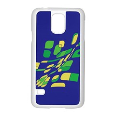 Blue abstraction Samsung Galaxy S5 Case (White)