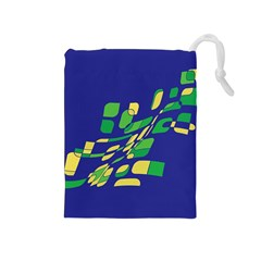 Blue abstraction Drawstring Pouches (Medium)