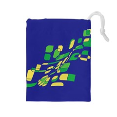 Blue abstraction Drawstring Pouches (Large)
