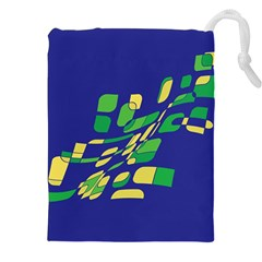 Blue abstraction Drawstring Pouches (XXL)
