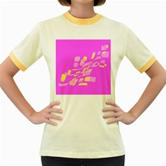 Pink abstraction Women s Fitted Ringer T-Shirts