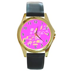 Pink abstraction Round Gold Metal Watch