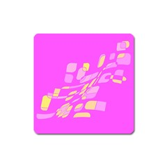 Pink abstraction Square Magnet