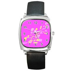 Pink abstraction Square Metal Watch