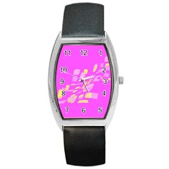 Pink abstraction Barrel Style Metal Watch