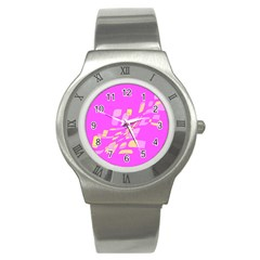 Pink abstraction Stainless Steel Watch