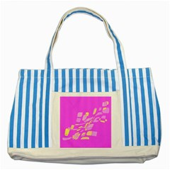 Pink abstraction Striped Blue Tote Bag