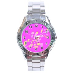 Pink abstraction Stainless Steel Analogue Watch