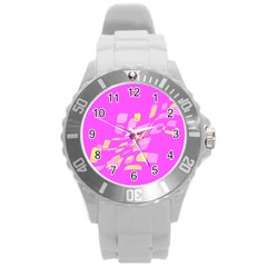 Pink abstraction Round Plastic Sport Watch (L)