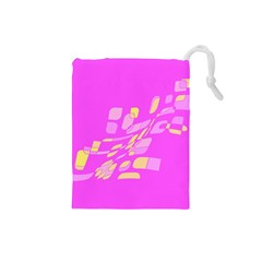 Pink abstraction Drawstring Pouches (Small)