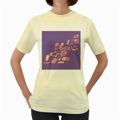 Purple abstraction Women s Yellow T-Shirt