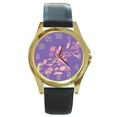 Purple abstraction Round Gold Metal Watch