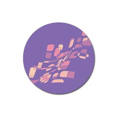 Purple abstraction Magnet 3  (Round)
