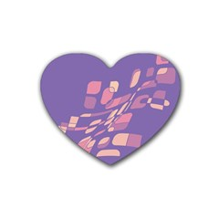 Purple abstraction Rubber Coaster (Heart)