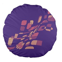 Purple abstraction Large 18  Premium Flano Round Cushions