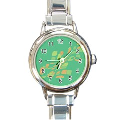 Green abastraction Round Italian Charm Watch