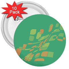 Green abastraction 3  Buttons (10 pack)
